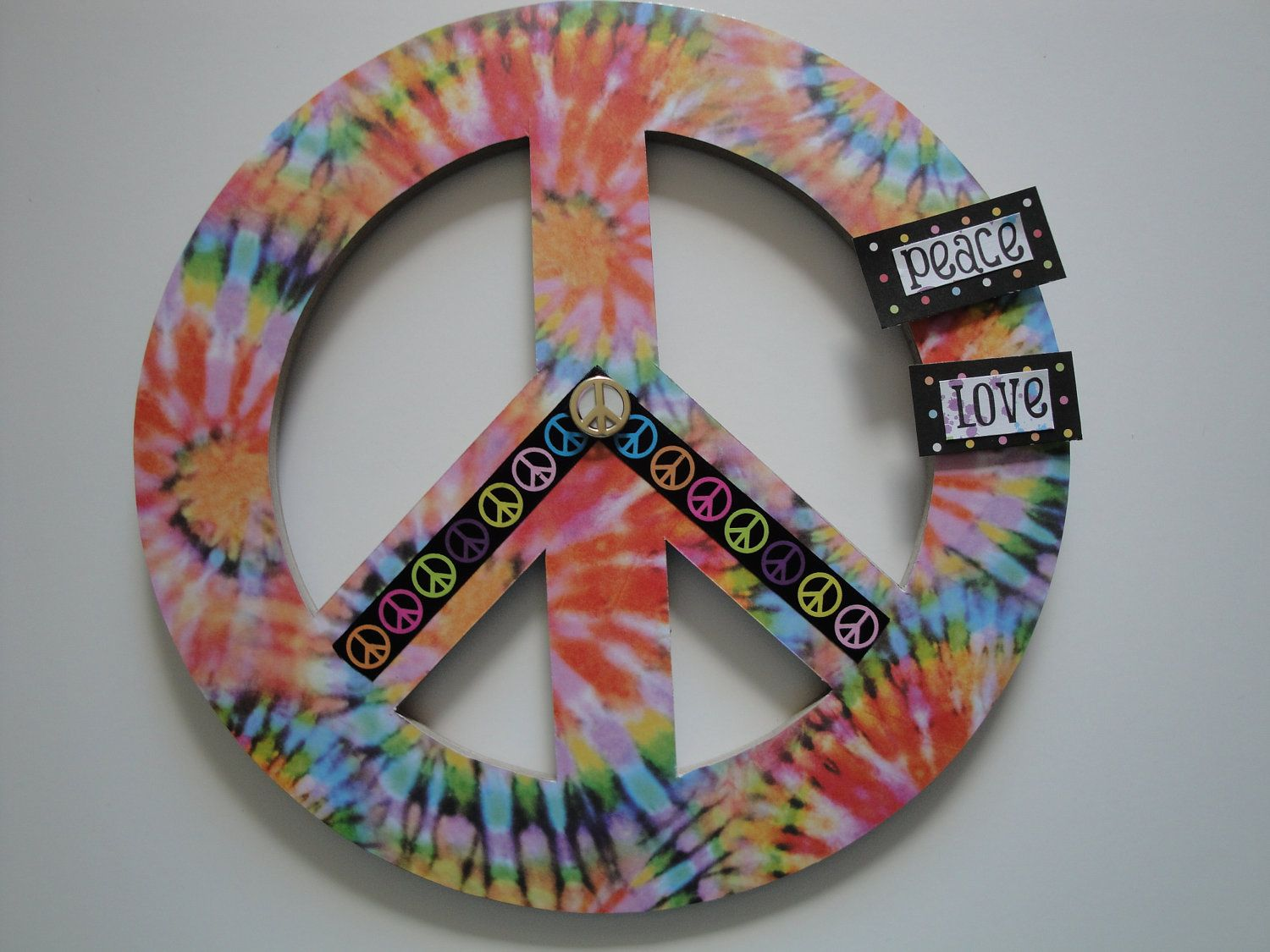 Peace Sign Bedroom Decor Tie Dye Peace Sign Name Plaque Teen Room Decor Childs Room