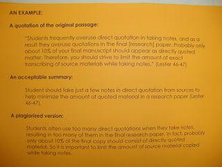 My Adventure Teaching Junior High English Quotation Paraphrasing Summarizing And Mla Source Formatting Plagiarism Lesson Quote Paraphrase Citation Example