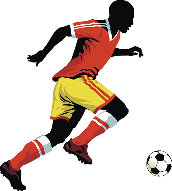 Soccer Player Running With The Ball Football Vector Art