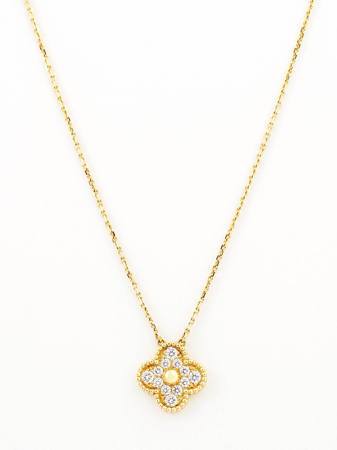 arpels van on betteridge pink chain p sweet cleef alhambra gold clover pendant
