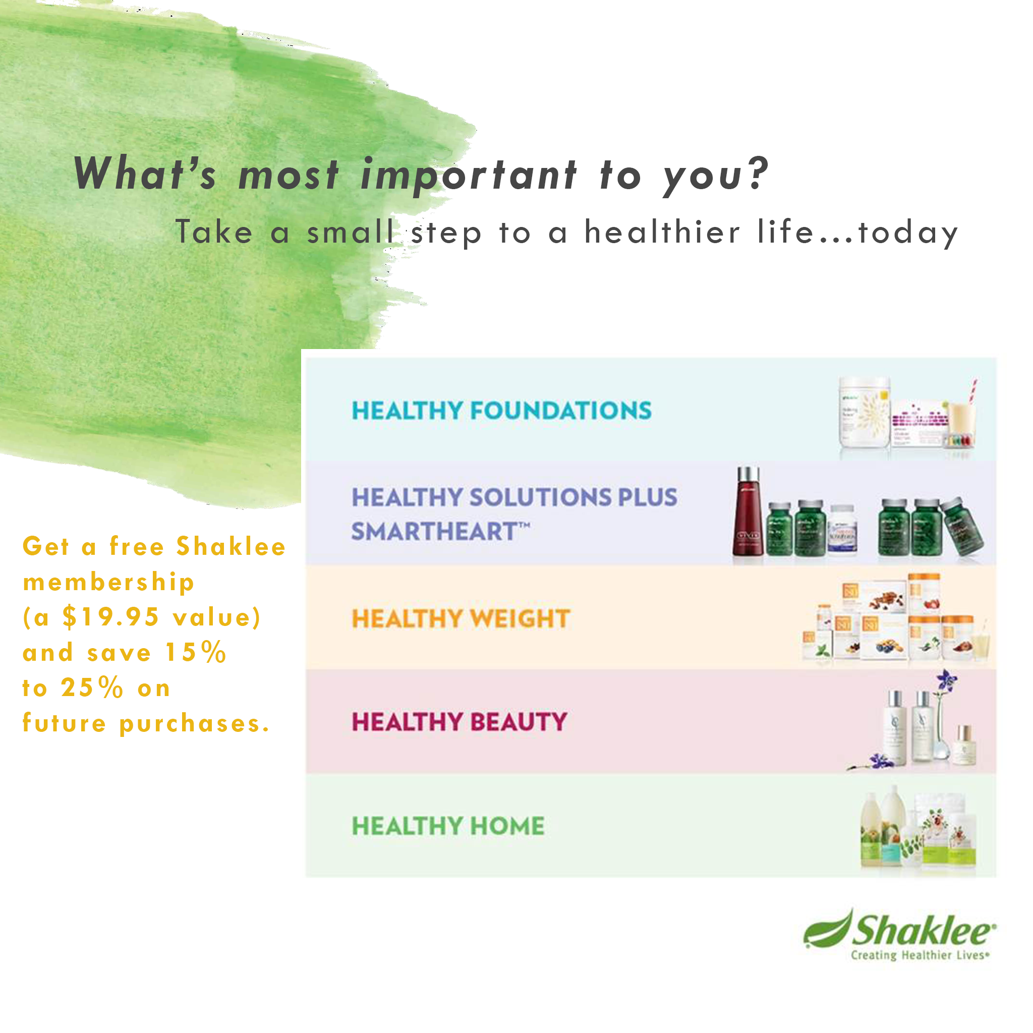 What's most important to you? Take a small step to a healthier life....today!!!  #Shaklee #wellnesspedler #healthierlife #smallsteps
