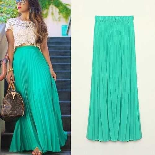 234393247 Pin de Antonella Guzman en Skirts   Long chiffon skirt, Pleated maxi ...