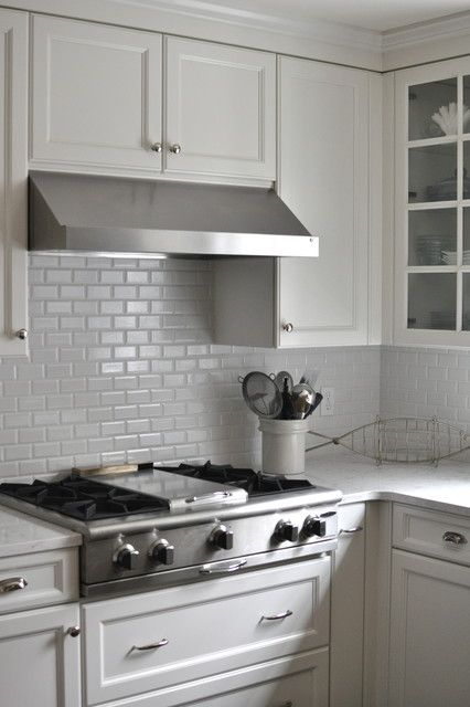 Minimalist White Tile Backsplash And White Cabinets In The Traditional  Kitchen With White Cambria Quartz Countertops
