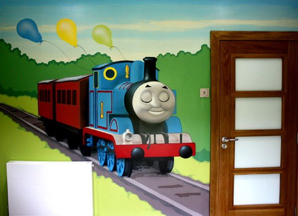 Cute Thomas And Ballons Murals Ideas Design Inspirations