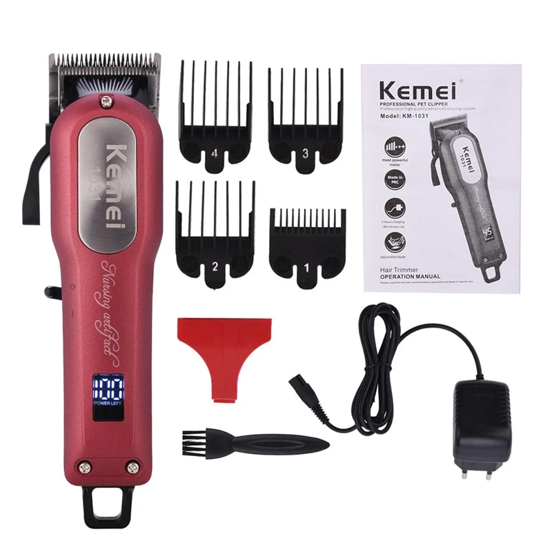 Kemei Rechargeable Trimmer Hair Clipper Electric Haircutting Machine Hair Beard Trimmer Shaving Machine Razor Hair C Hair Trimmer Hair Clippers Shaving Machine