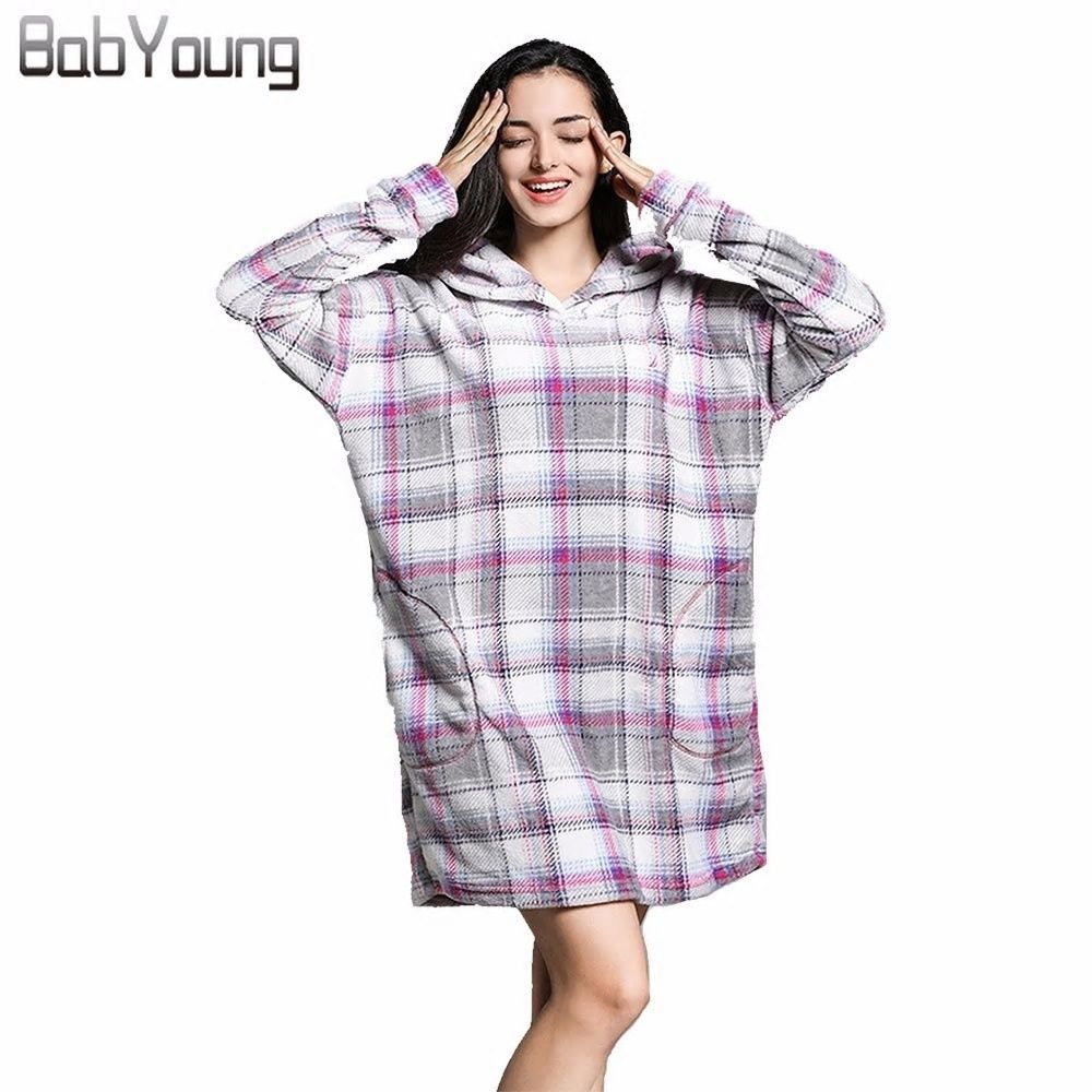 3db70b730f BabYoung Winter Pajamas Women Robes Plaid Flannel Long Sleeve Bath Robe  Hoodies Homewear Warm Female Bathrobe Mini Dress