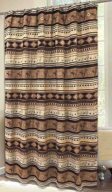 Brown Mustang Western Shower Curtain Jb4177 Western Shower