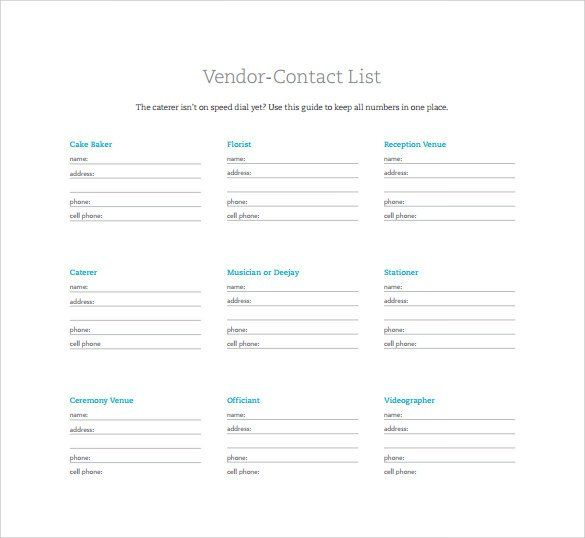 Contact List Template 14 Download Free Documents In Pdf