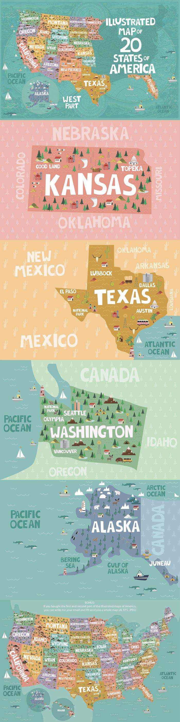 20 States Of America Illustrated Map Vector Designs Inspiration