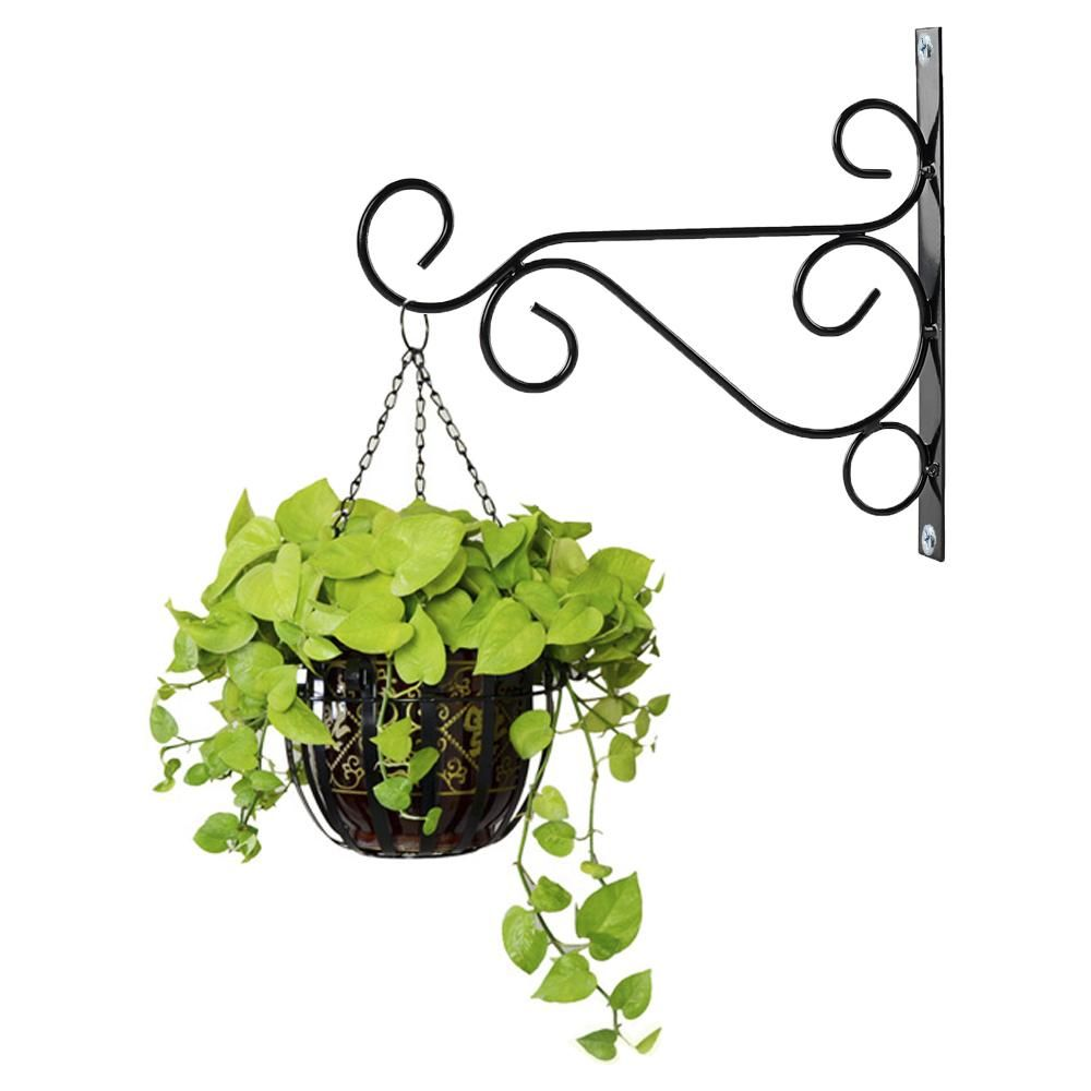 "LARGE 12/"" BLACK DECORATIVE HANGING BASKET WALL BRACKETS Garden Plant Flower"