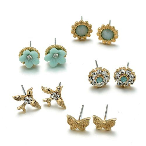 Onnea® Girls Jewelry Mint Green Earrings Set (Birds, Butterfly, Flowers)