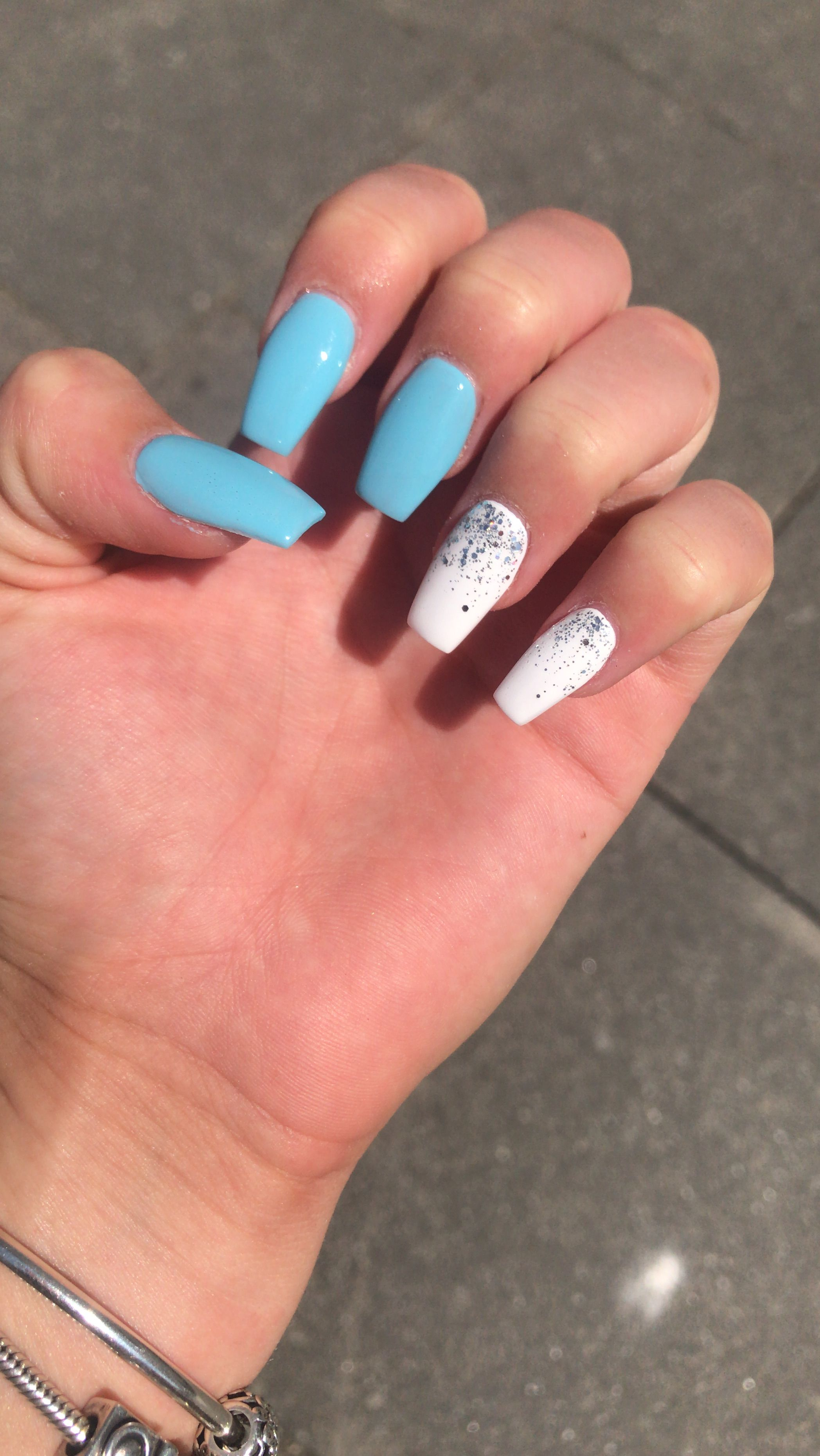 White And Blue Glitter Summer Acrylic Nails Summer Acrylic Nails Nails Blue Glitter