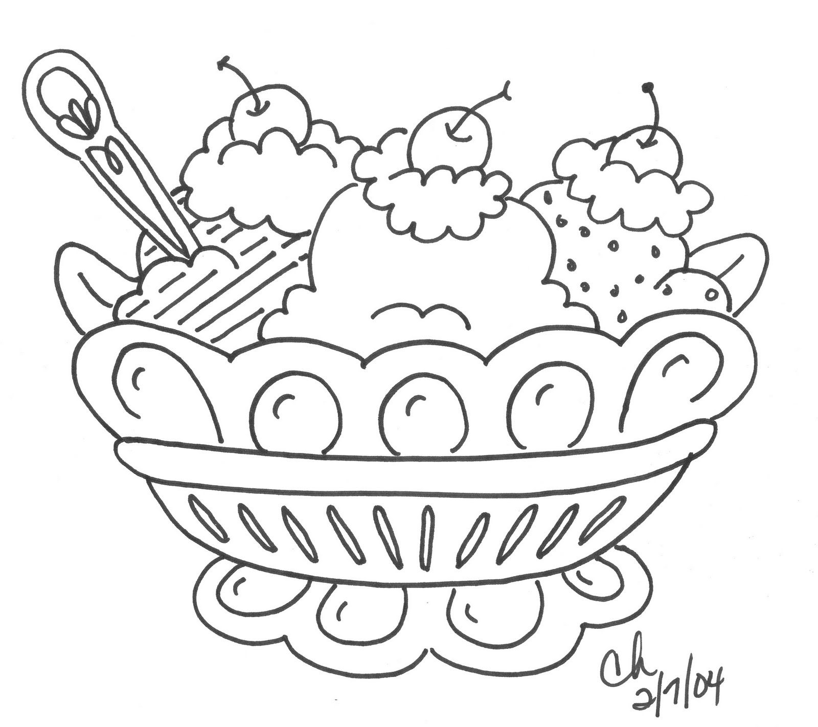 Free Redwork Dessert In 2020 Ice Cream Coloring Pages
