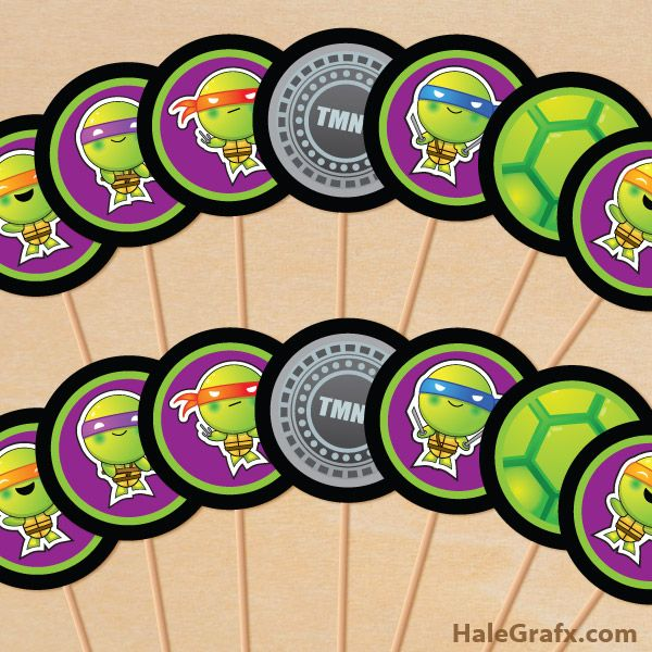 Free Printable Tmnt Ninja Turtle Cupcake Toppers Ninja Turtles Birthday Party Turtle Birthday Ninja Turtle Birthday