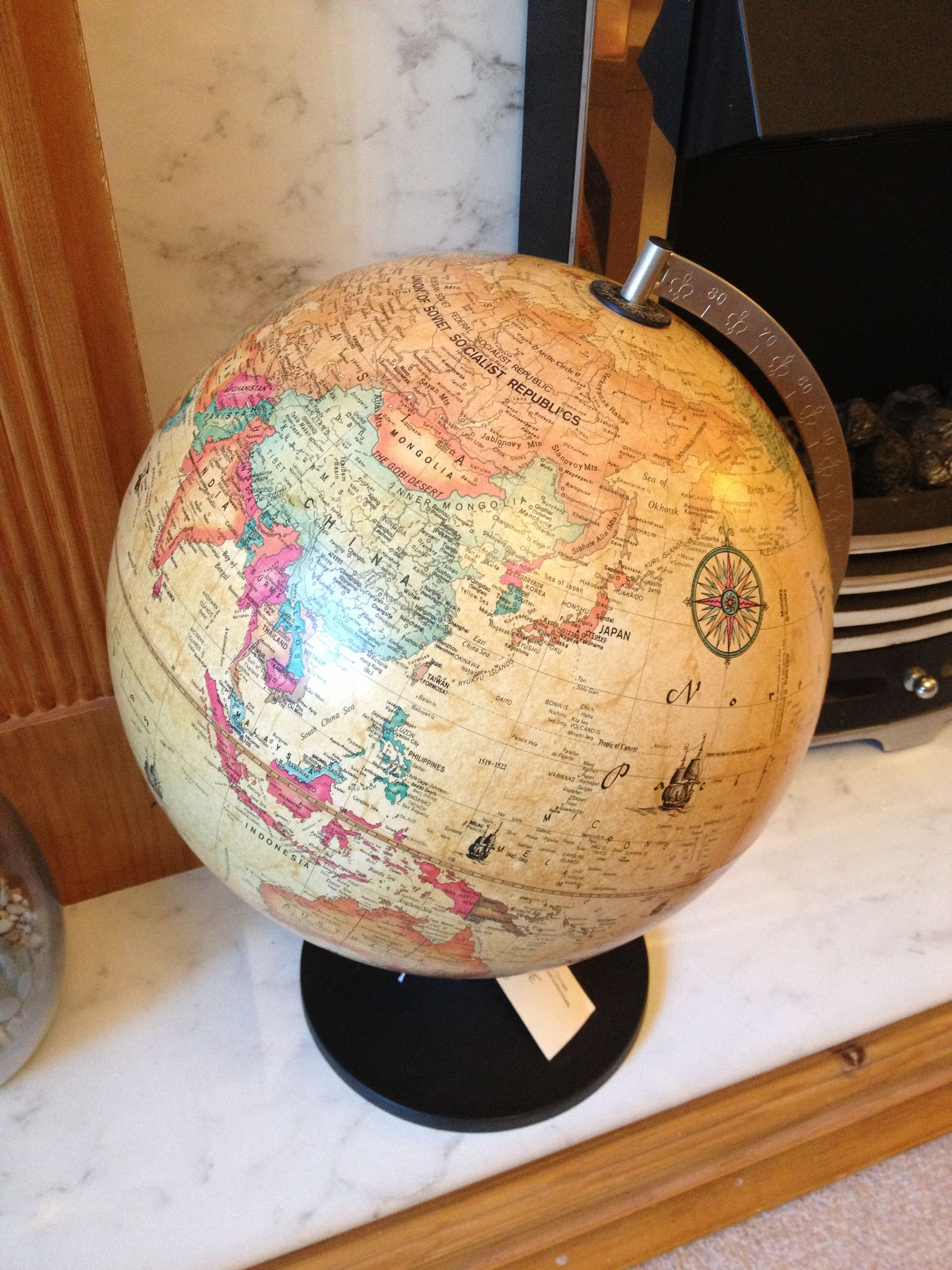 My new globe, bought from an antiques fair.