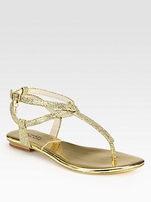 9d54fb5ff4e MICHAEL MICHAEL KORS Jessie Metallic Leather Thong Sandals. Also in silver