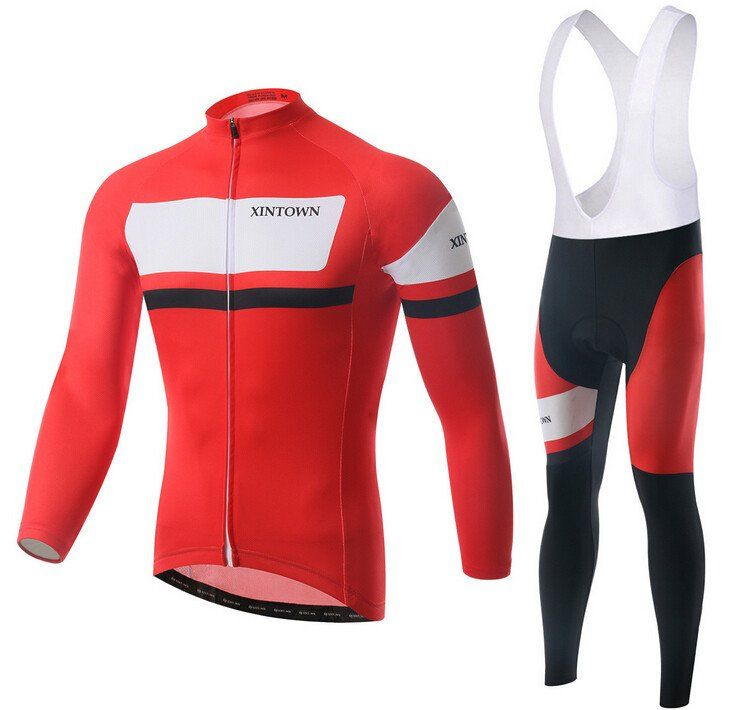 Italy Red and White  Long Sleeve Cycling Jersey Set