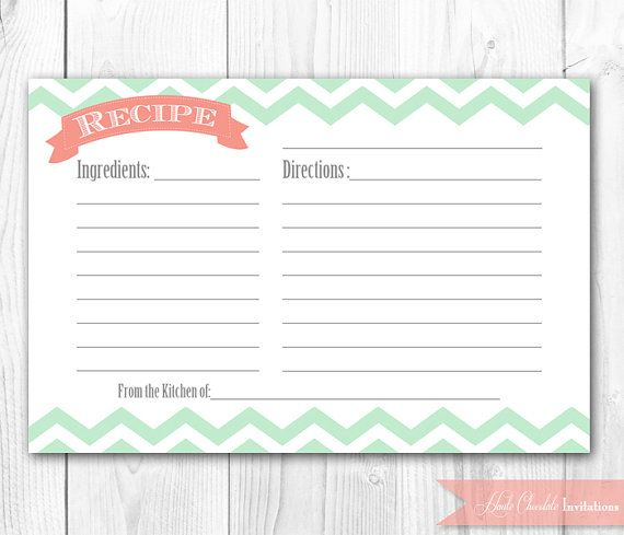 Recipe Card - Printable Coral and Mint Chevron Recipe Card DIY - recipe card