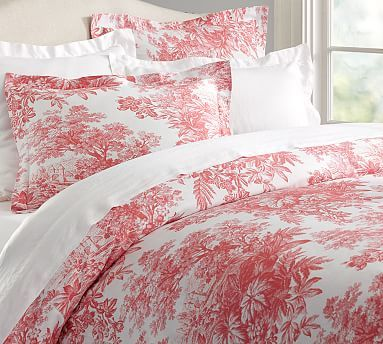 Matine Toile Duvet Cover Sham, Red Toile Queen Bedding