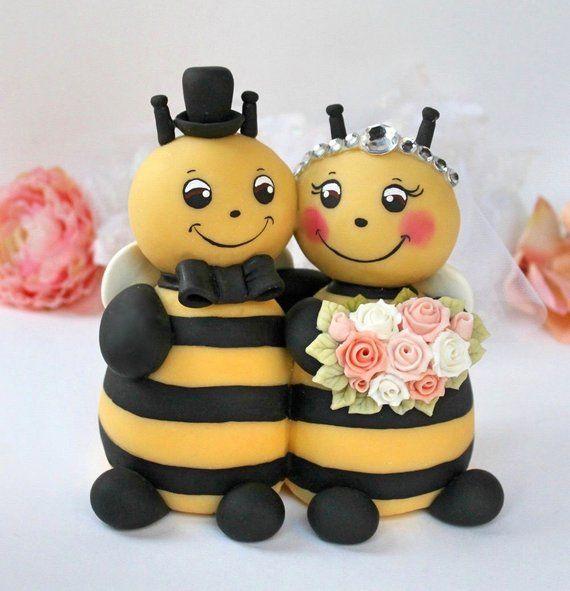 Wedding Bee Cake Topper Bumble Bee Cake Topper Hugging Bride Etsy Bee Wedding Cake Bee Cakes Bumble Bee Cake