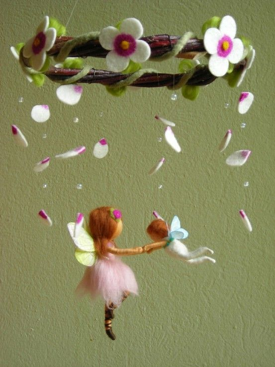 """Felt """"fairie""""...mobile...adorable  quick easy sewing project..  its too look a bit """"prim""""...it works..definatly"""