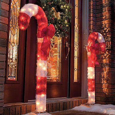 Lighted Candy Cane Decorations Mesmerizing Candy Cane Outdoor Christmas Decorset Of 2  Improvements  Merry Review