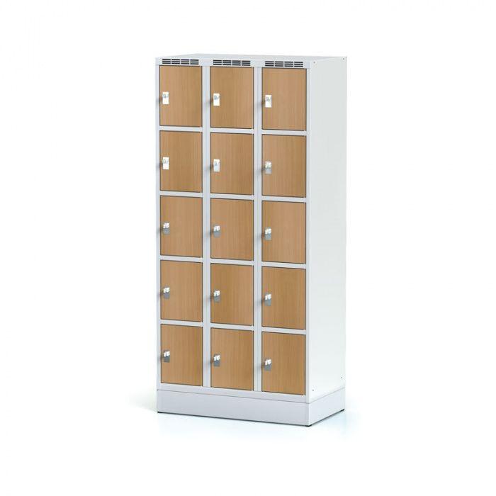 Wardrobe, 15 boxes 300 mm on the plinth, laminated beech door …