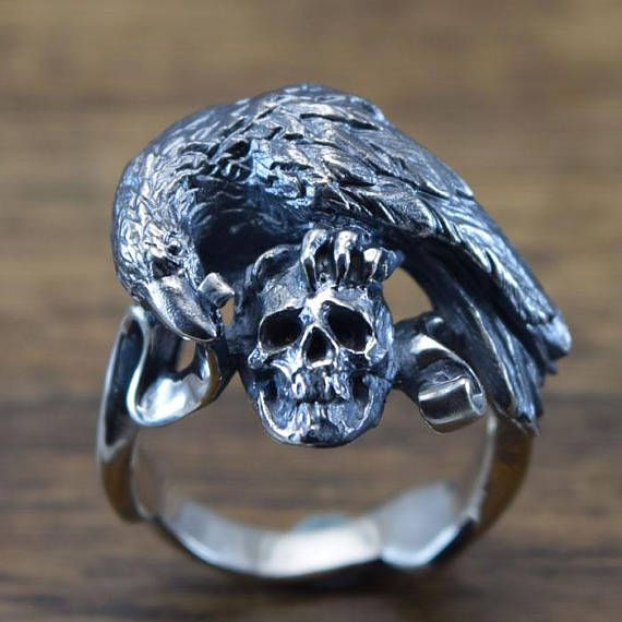 Raven And Skull Ring Delicate Hand Carving 925 Solid Sterling Silver