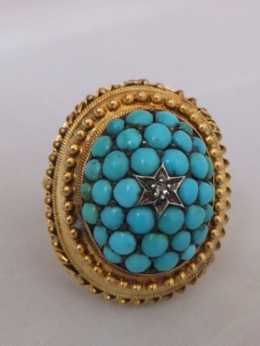 Fine large and heavy Turquoise and Diamond 18ct gold dress ring