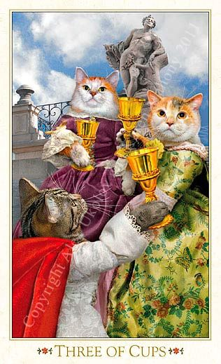 Tarot Des Chats Baroques De Boheme Trois De Coupes Cat Art Cats Illustration Animal Portraits Art