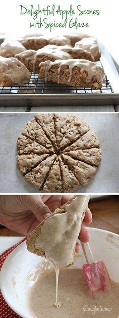 Apple Scones With Spiced Glaze Recipe Skinny Taste Recipes Desserts Apple Recipes