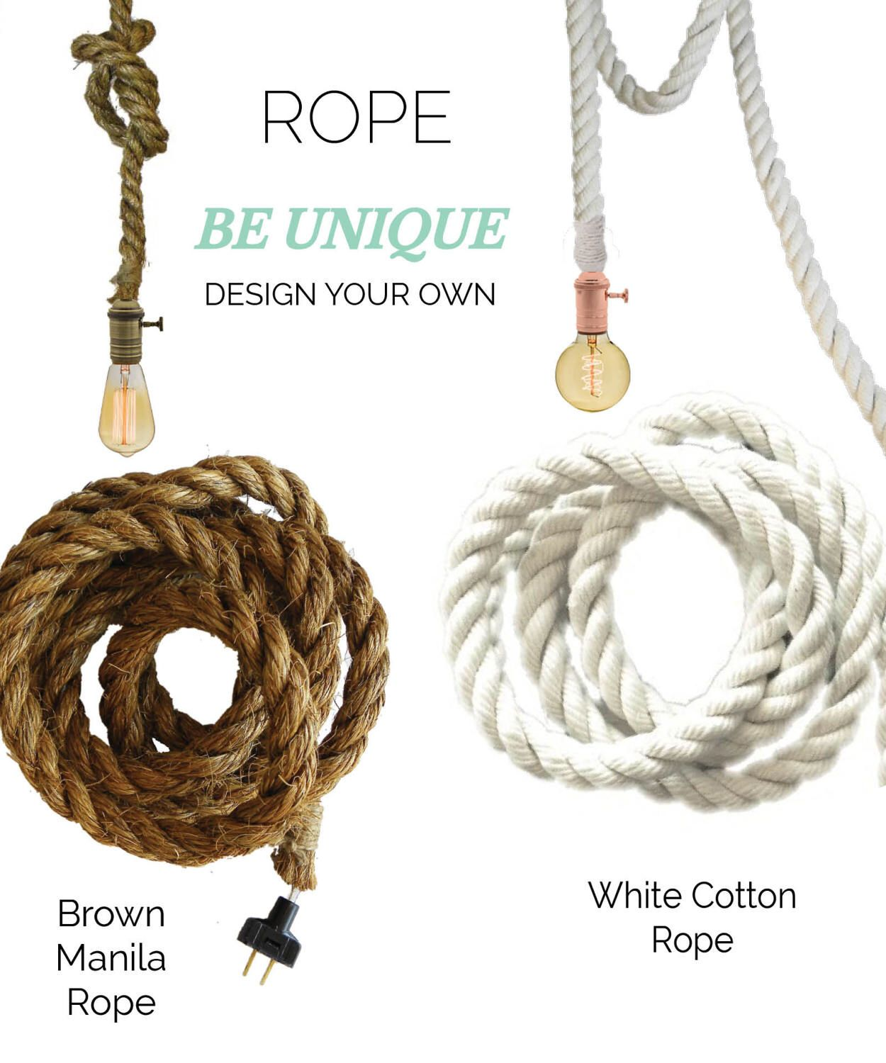 Rope Pendant Light- White Cotton Modern Industrial Manila Rope ...