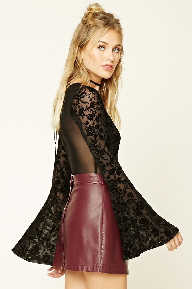 Forever 21 Contemporary - A semi-sheer mesh bodysuit featuring a floral  velvet design 80e52bb34