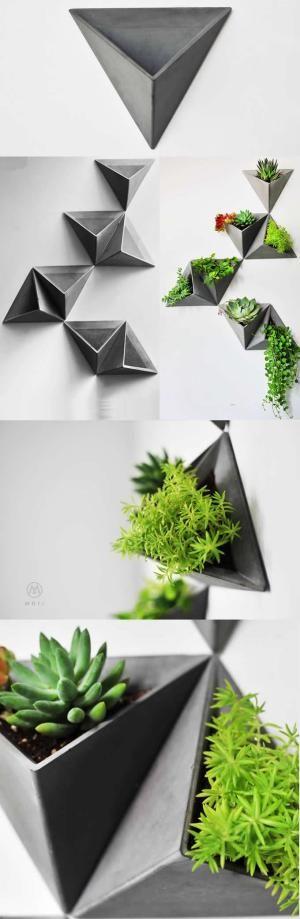 Concrete triangle shaped wall mounted flower pot succulent - Macetas para interiores ...