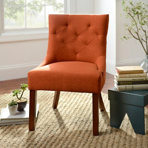 Living Room With Mismatched Accent Chairs: Spice Button-Tufted Accent Chair