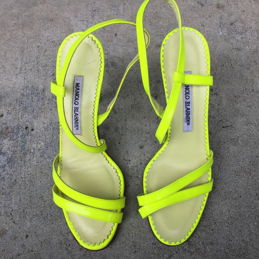 Manolo Blahnik Size 36 5 Neon Yellow Strap Kitten Heel Only Worn Once Fashion Clothing Shoes Accessories Womensshoes H Manolo Blahnik Kitten Heels Heels