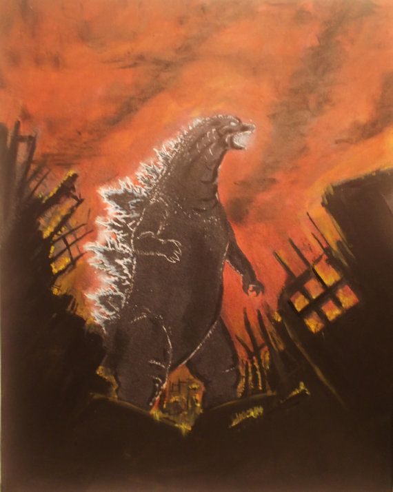 Godzilla 16X 20 acrylic on canvas by Helrods on Etsy, $200.00