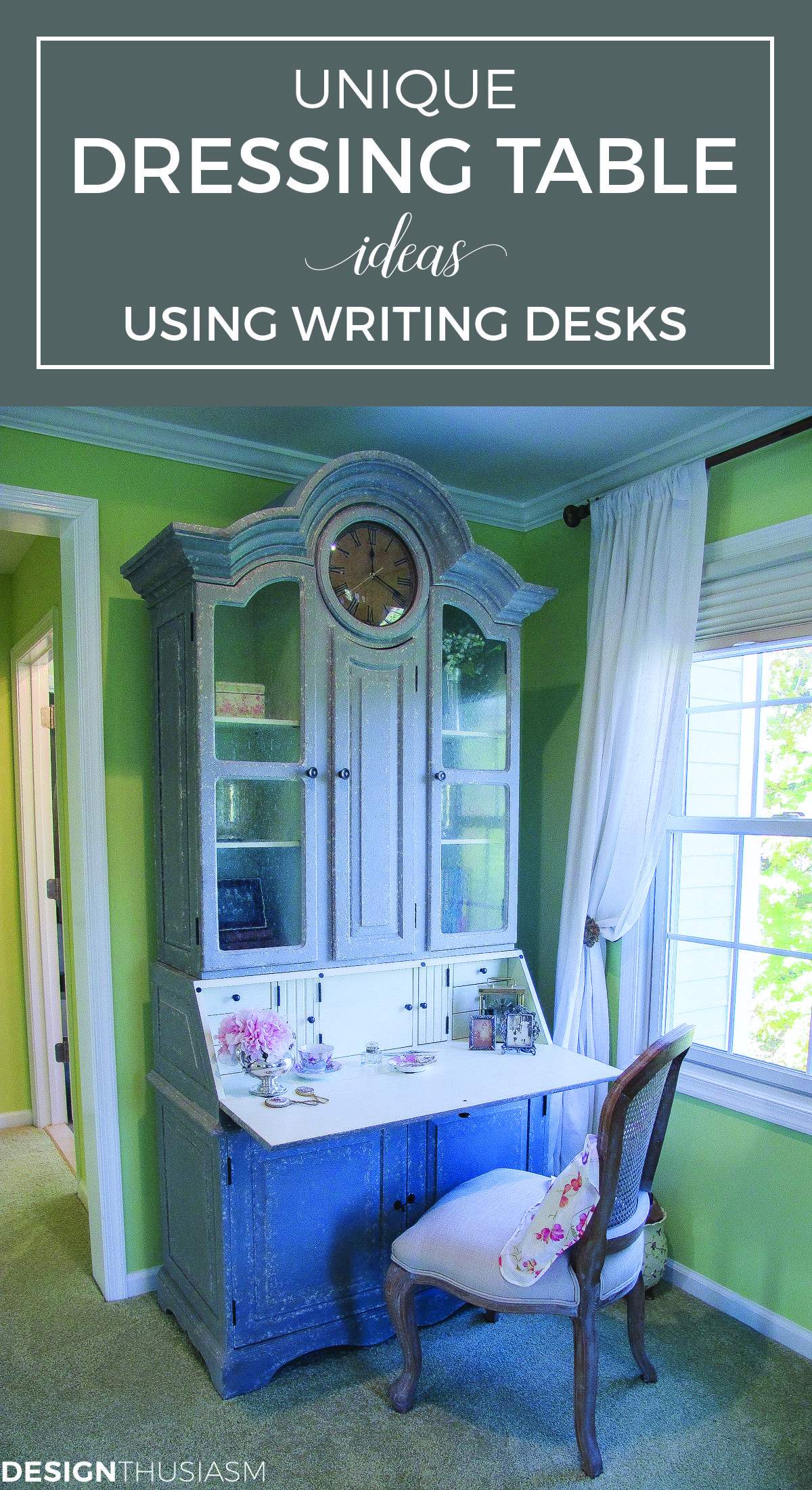 Why I Use a Writing Desk as a Vanity Bedroom desk