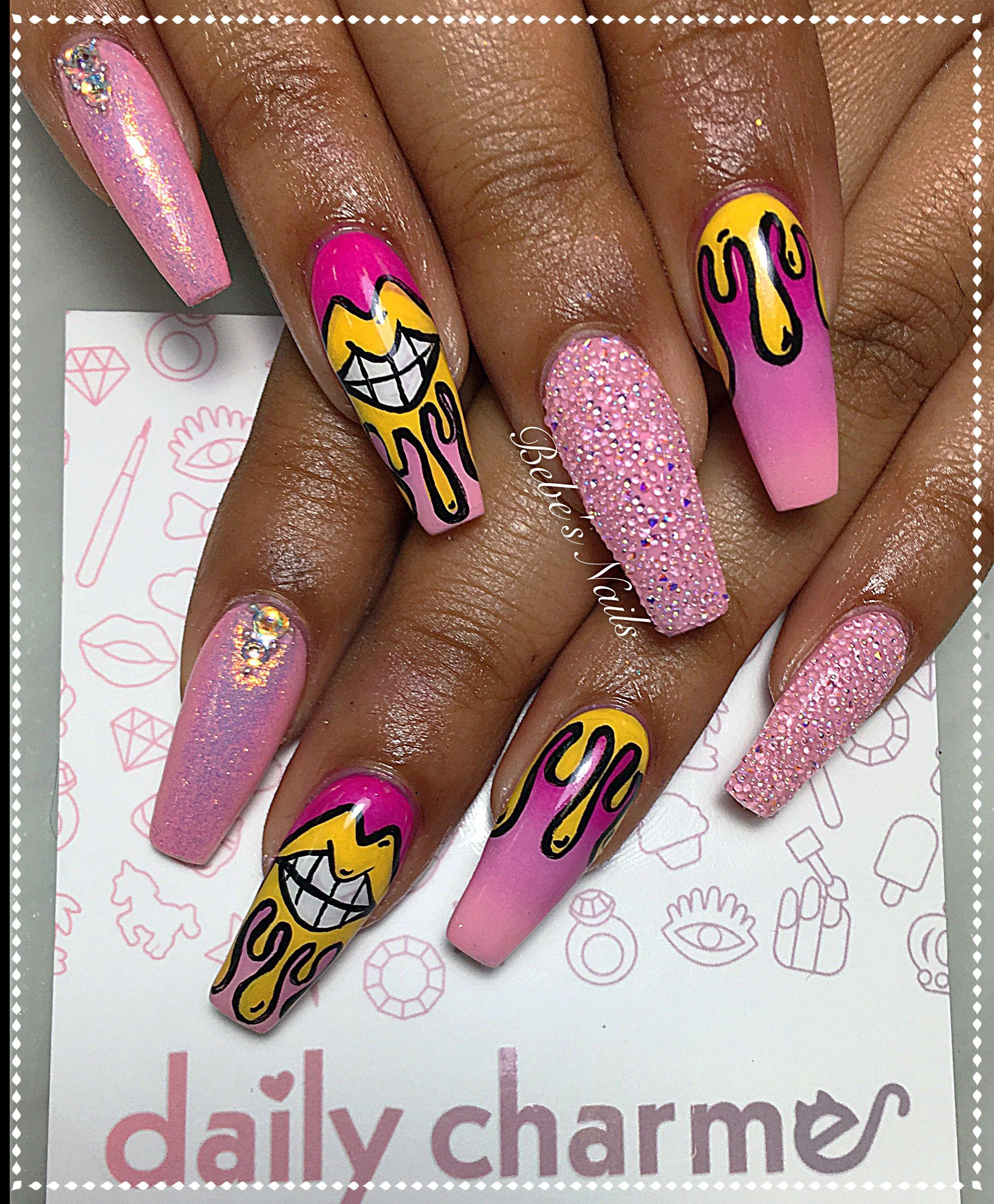 Pink lip nail design with Swarovski crystals | Bebe\'s Nails ...