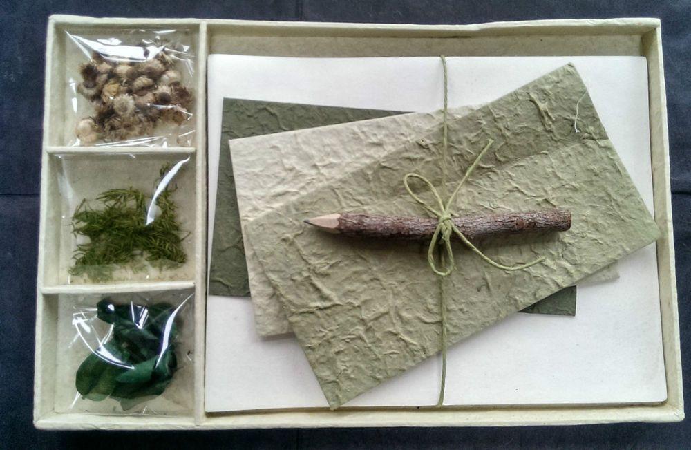 Gift Set - Letter/Writing Stationery Set/Handmade Mulberry Paper/X mas/Avacado