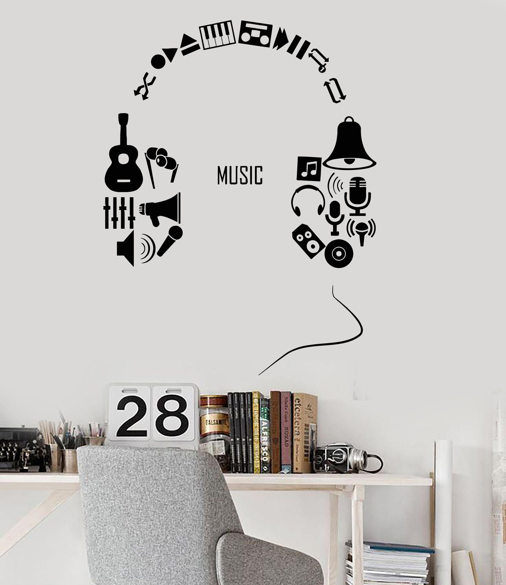 Vinyl Wall Decal Headphones Music Musical Teen Room Decor ...