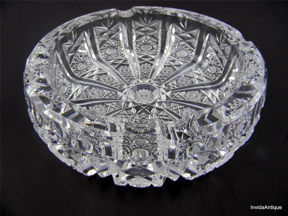 f214d1f06e1 Vintage Czech Bohemia Queens Lace Cut Crystal Glass Ashtray! Stunning  Detail!