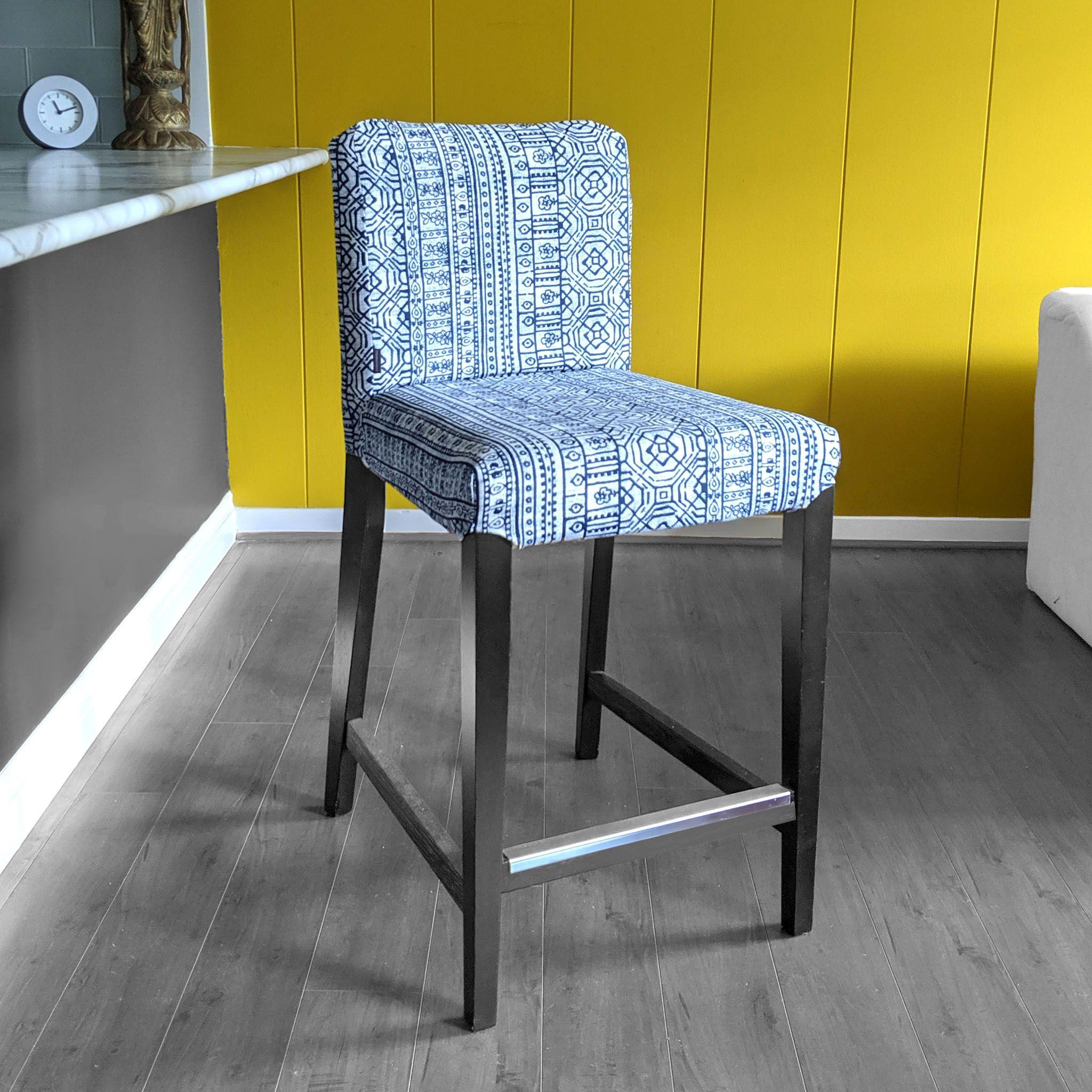 Ikea Henriksdal Bar Stool Chair Cover Navy Blue Tribal Print