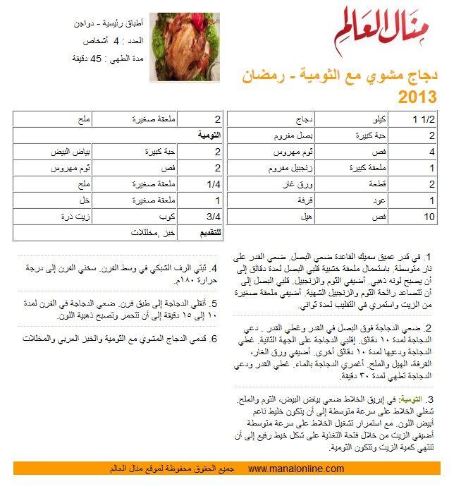 دجاج مشوي مع الثومية مطبخ منال العالم Recipes Chicken Recipes Arabic Food