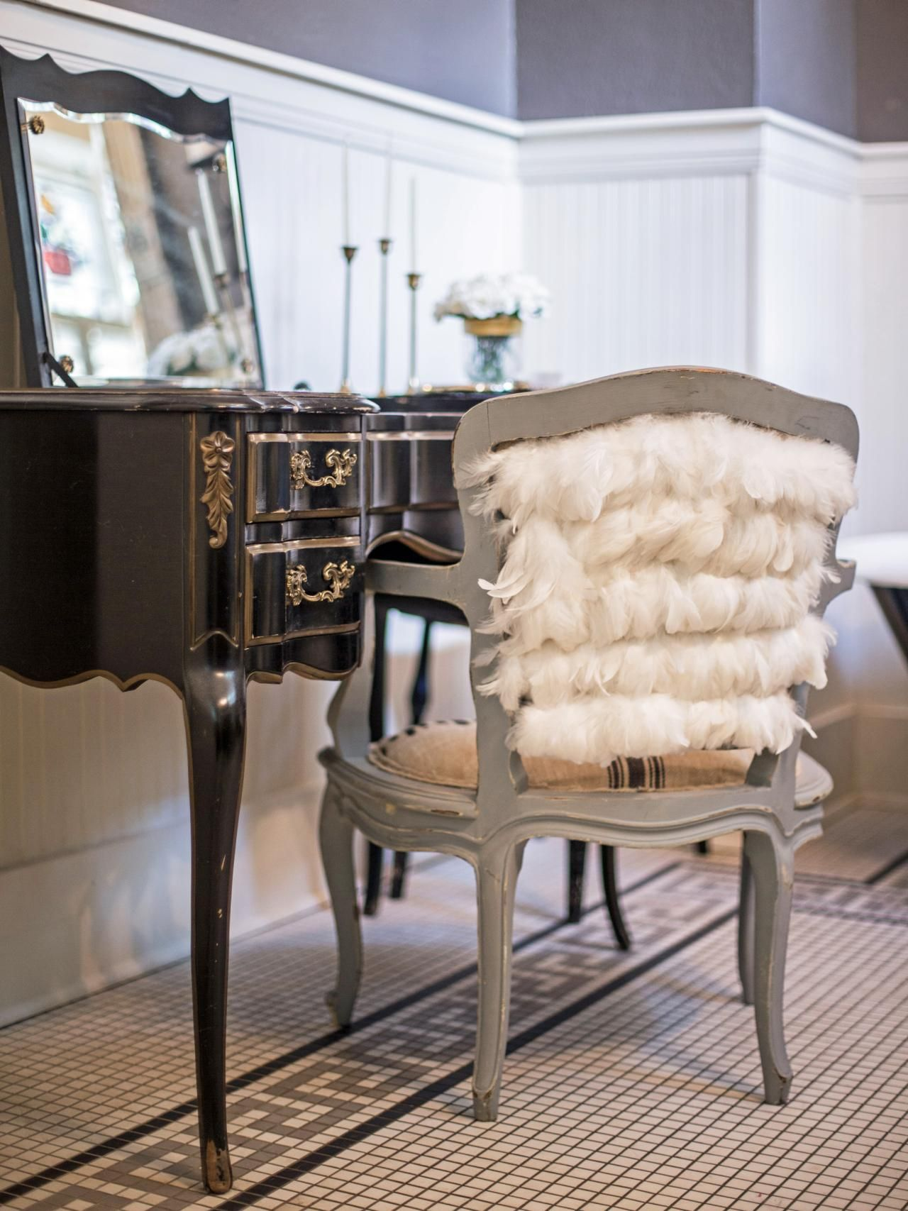 Embellish A Vanity Chair With Feathers Vanity Stool Contemporary Living Room Furniture Black Vanity Table