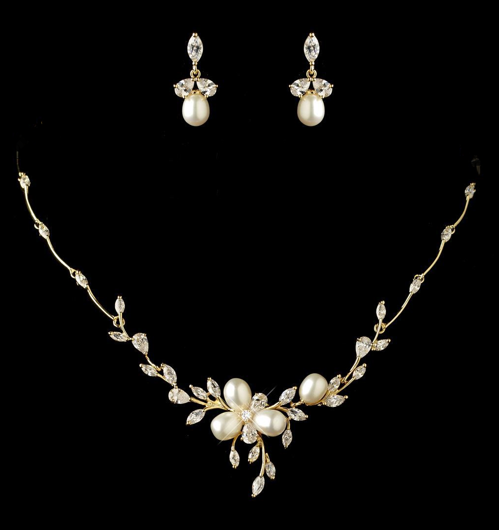 Freshwater Pearl and CZ Gold or Rose Gold Wedding Jewelry Set