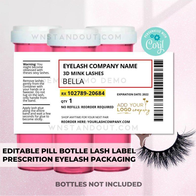 Pill Bottle Lash Label Template Prescription Labels For Etsy In 2021 Label Templates Pill Bottle Labels