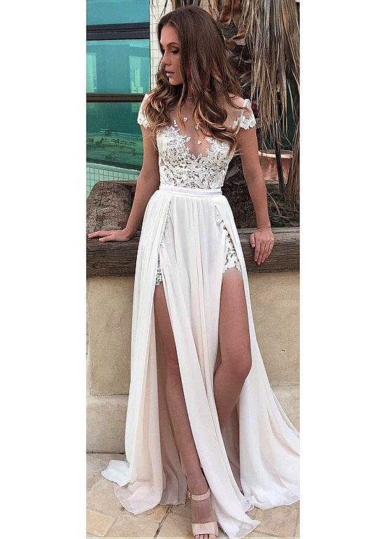 Buy discount Graceful Tulle  Chiffon Jewel Neckline Seethrough Aline Wedding Dress With Lace Appliques  Belt at Source by annherbacz