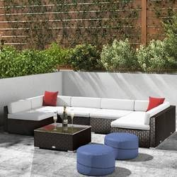 holliston 6 piece rattan sectional set with cushions in 2019 pool rh pinterest com