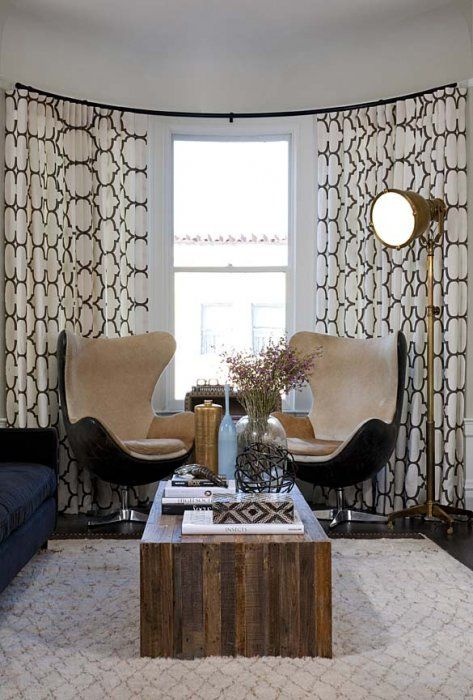 Stitch Custom Furnishings Specializes In Window Treatments Curtains Drapery And Hardware For Bowed Curved And Bay Windows In San Fran Curved Walls Contemporary Window Treatments Interior Design
